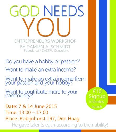 god needs you entrepreneurship workshop den haag