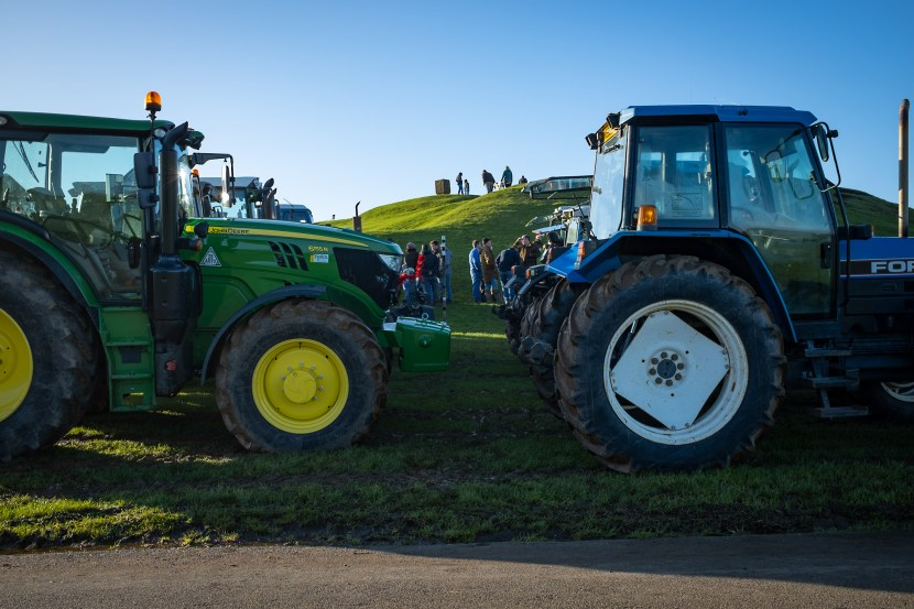 Tractors lined up for a meeting