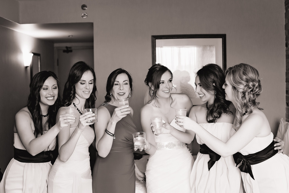 bridal party getting ready Walton Memorial United Church Oakville