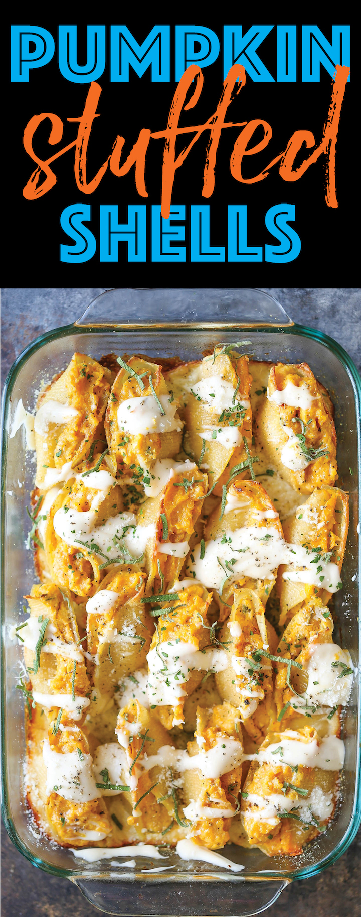 Pumpkin Stuffed Shells - Luxuriously creamy, rich and comforting with the most epic garlic parmesan cream sauce that you'll want to put on everything!