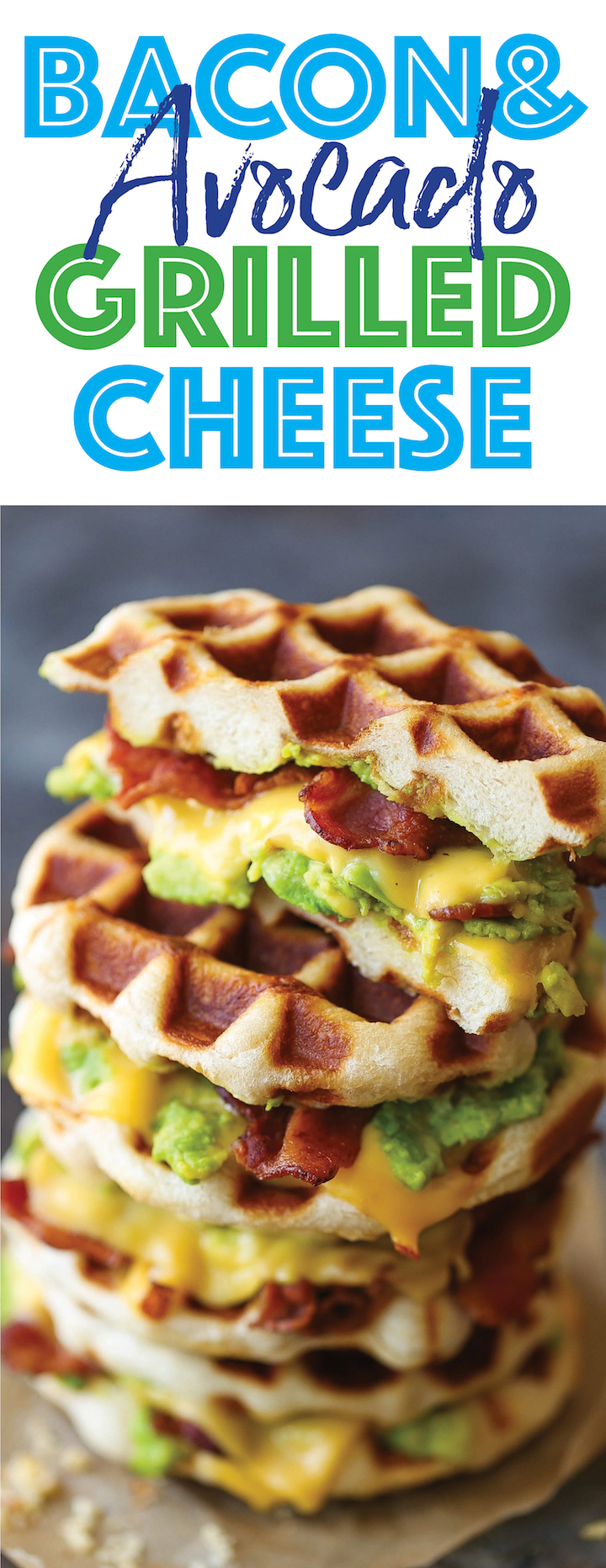 Bacon and Avocado Waffle Grilled Cheese - Crisp bacon, creamy avocado and melted cheesy goodness made right in a waffle iron! Easy peasy and mess-free!