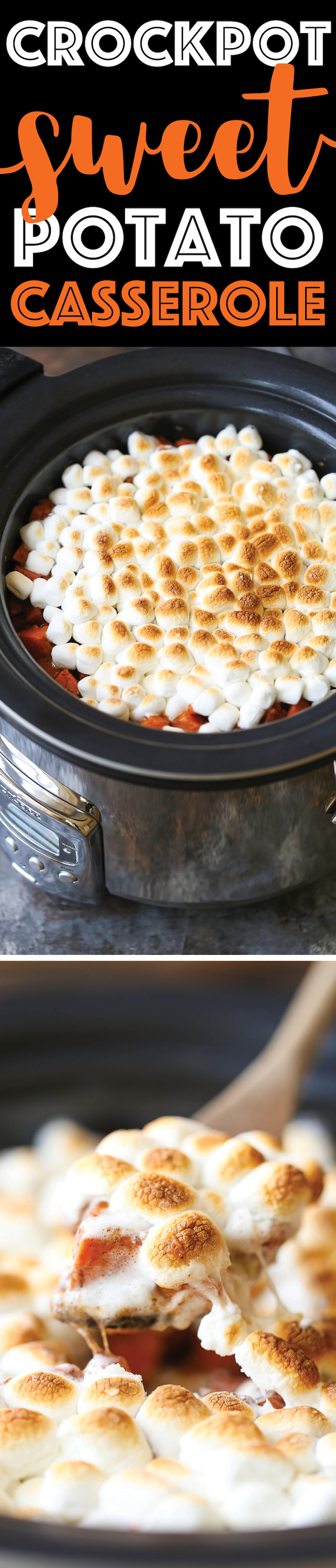 Slow Cooker Sweet Potato Casserole - That ooey gooey marshmallow topping!!!! All made in a crockpot. So easy without taking any oven space. Double win!