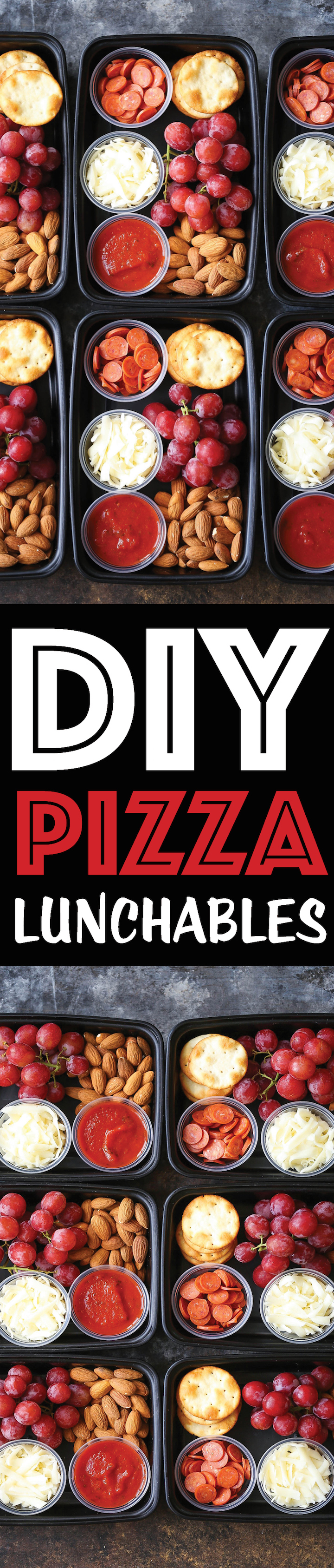 DIY Pizza Lunchables - This is so much better (and healthier) than the store-bought kind! Prep/make ahead of time too in 10-15 min! Only 257 calories.