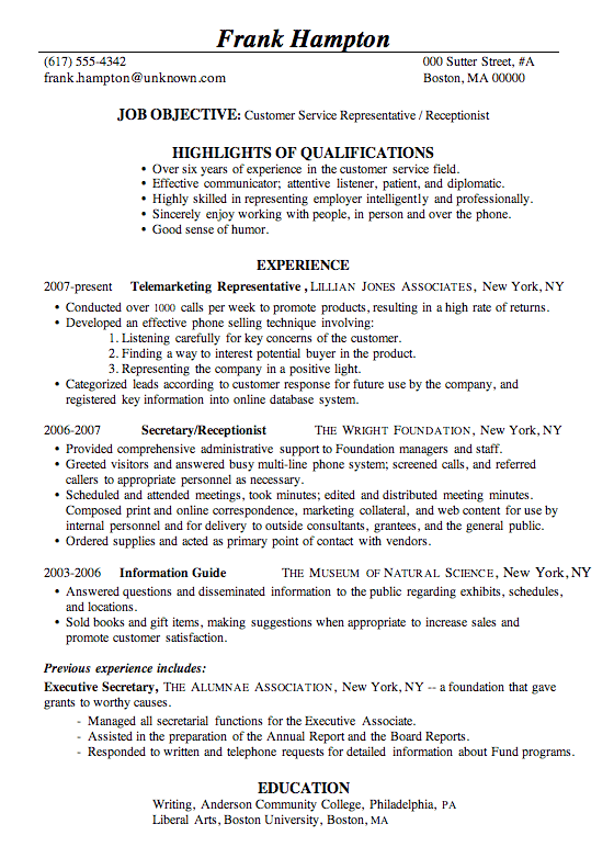 Descriptions For Resumes Customer Service. Sample Resume For A