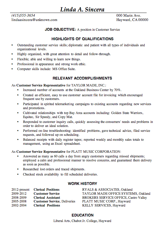 customer service representative objectives for resume examples - Resume Highlights