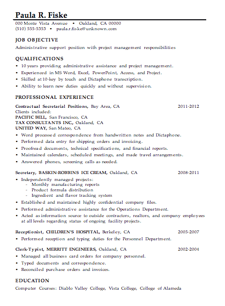 sample resume for administrative support project management