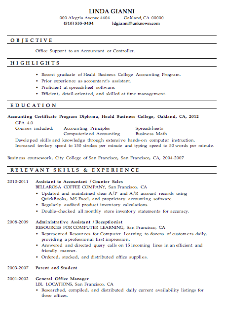 Coursework on a resume bookkeeping