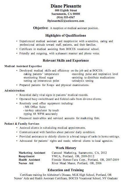sample resume for receptionist or medical assistant