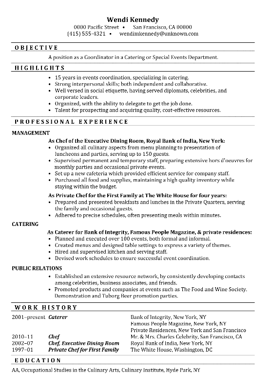 Attractive Functional Resume Sample Coordinator Catering Special Events With Catering Job Description For Resume