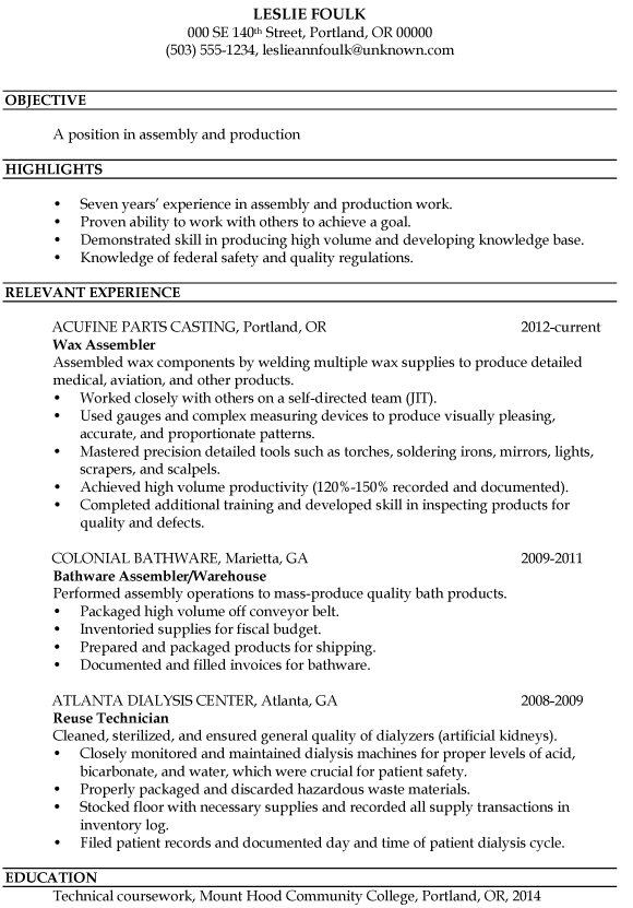 Resume Sample Assembly And Production  Winning Resume Samples