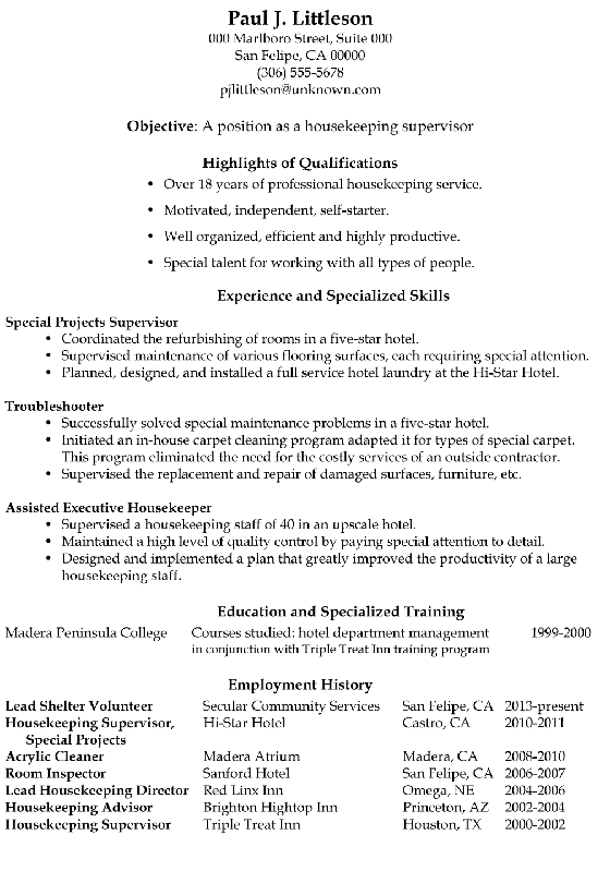 resume sample  housekeeping supervisor