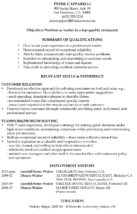 Functional Resume Sample Waiter  Customer Service Functional Resume