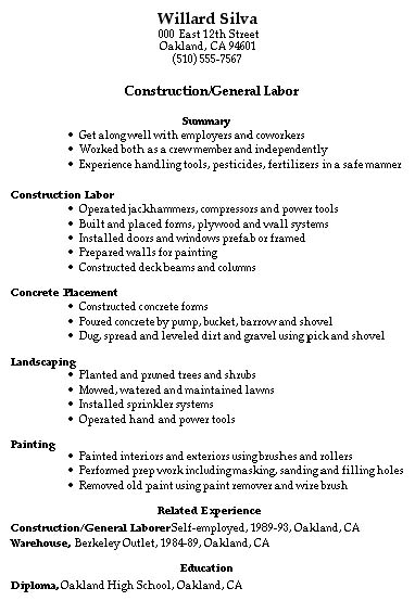 resume samples construction trades and labor damn good resume