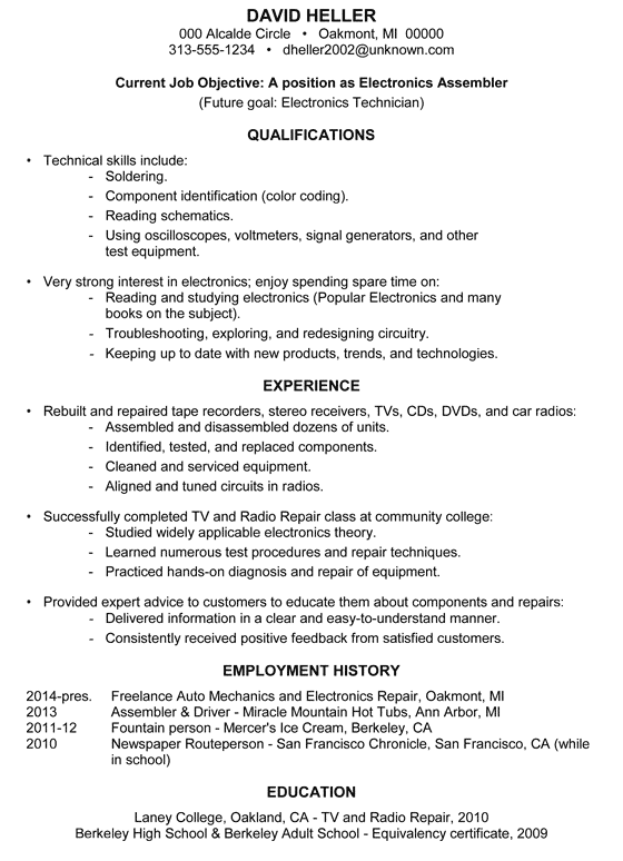 achievement sample resume electronics assembler - Entry Level Job Resume Examples