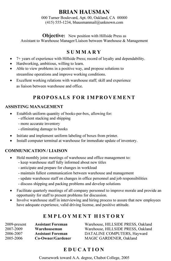 Functional Resume Sample: Assistant to Warehouse Manager