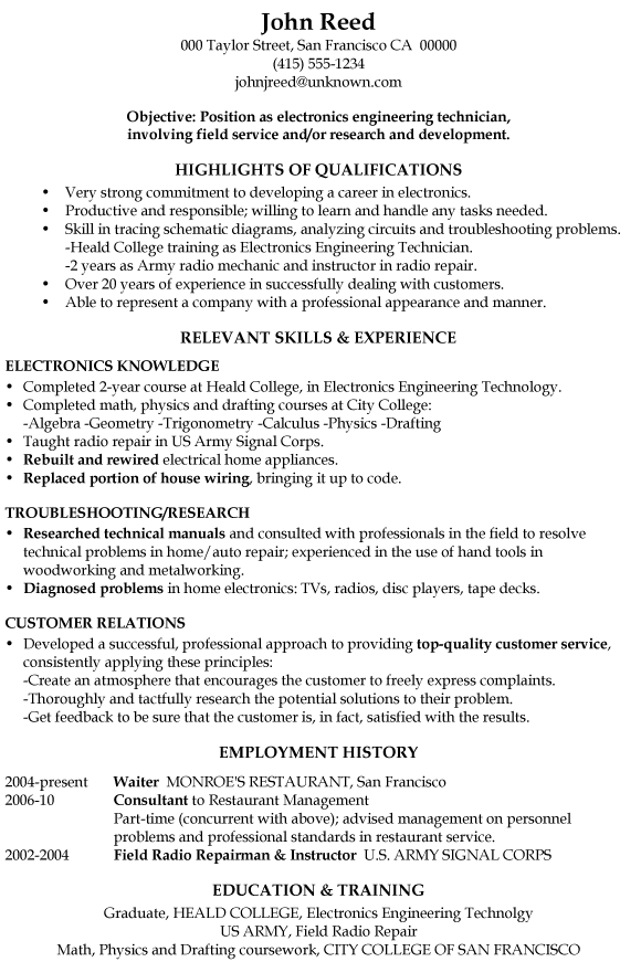 Functional Resume Examples. Free Resume Examples With Resume Tips