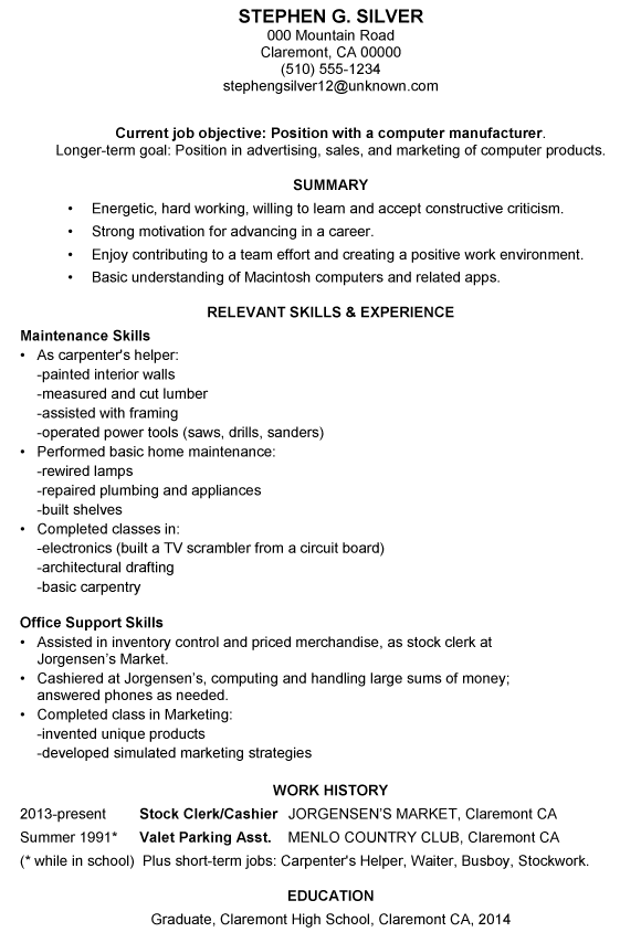 resume sample for manufacturing jobs