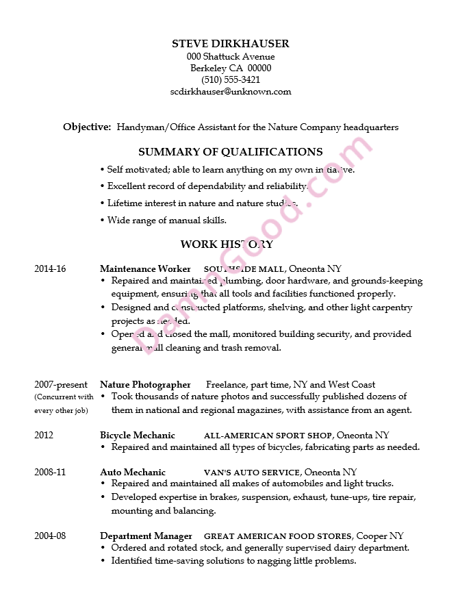 Resume Example Handyman  Office Job Resume