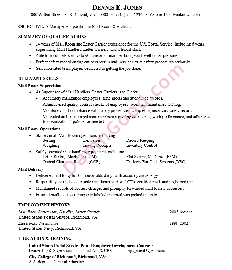 resume for a management position in mail room operations