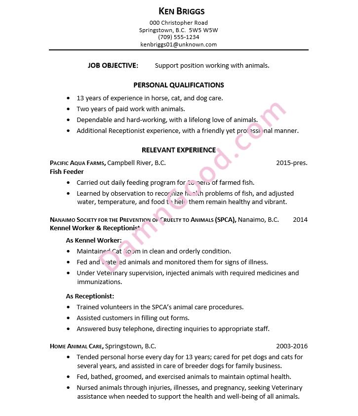 resume-animal-care