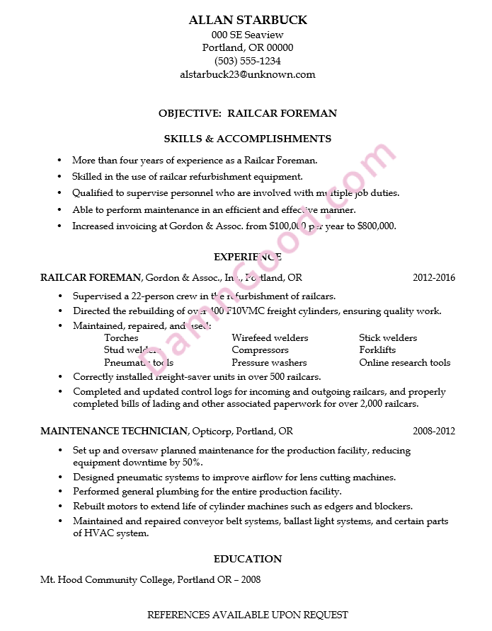 resume with no college degree