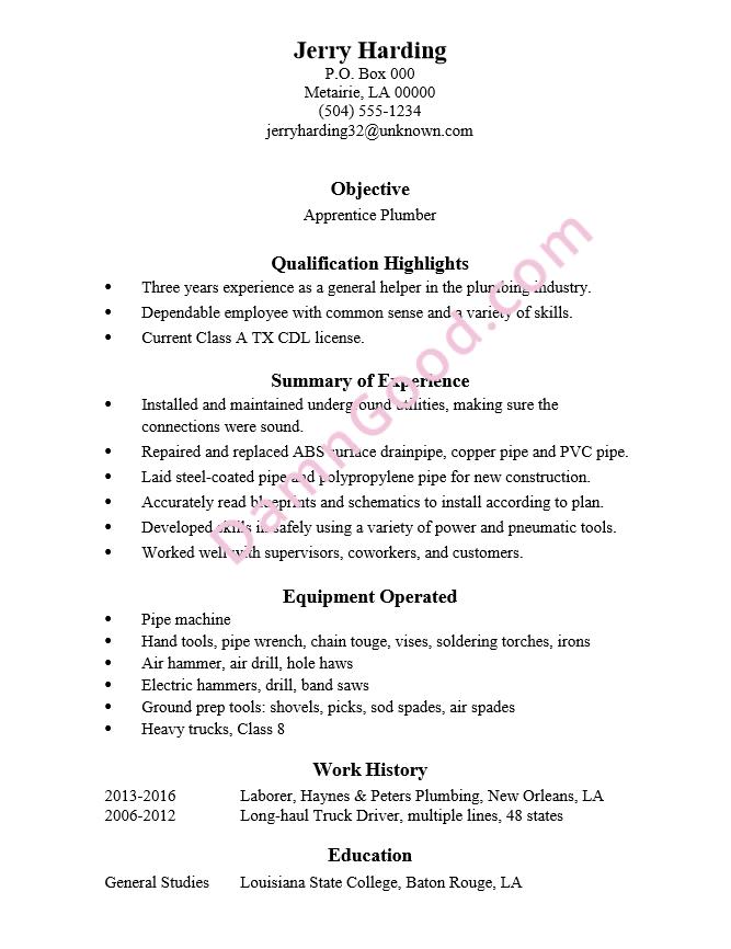 resume example apprentice plumber