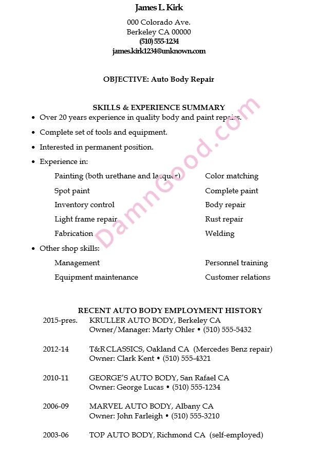 jamess resume sample for an auto body repair job - Complete Resume Sample