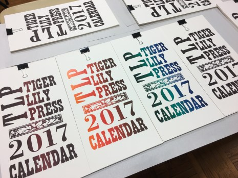 Tiger Lily Press 2017 Calendar, 4 cover variations (letterpressed by Susan Naylor)