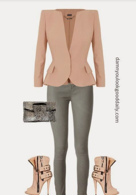 How to wear open toe booties in the spring outfit ideas blush blazer gray jeans and guiseppe zanotti open toe booties