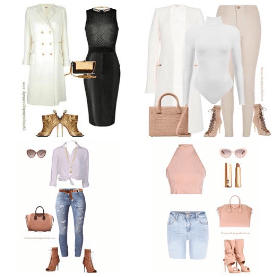Four Outfits with open toe booties, one outfit with a skirt, second outfit with jeans and a outfit with ripped jeans and a outfit with bermuda shorts