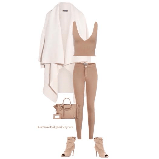 how to wear a open toe bootie in the winter white waterfall coat nude crop top nude skinny jeans and nude open toe booties