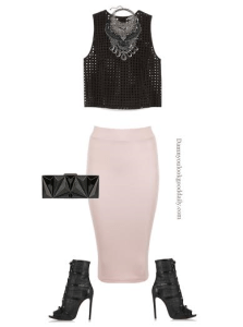 ankle boots with a pink pencil skirt