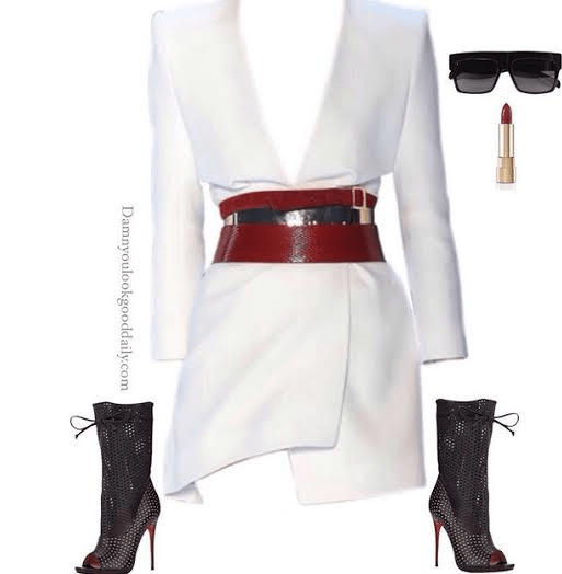 a sexy open toe christian louboutin open toe bootie with a white dress and celine sunglasses