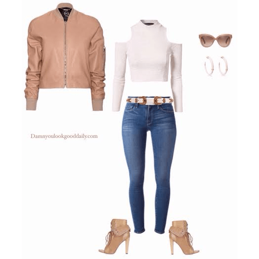 a open toe bootie out with a leather nude bomber jacket white cold shoulder crop top skinny blue jeans and nude lace up open toe booties