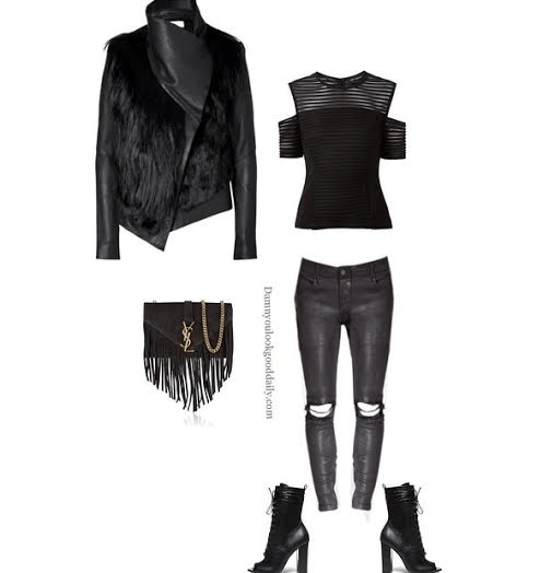 How to wear open toe booties in the winter leather jacket black top leather pants ysl fringe bag and lace up open toe booties