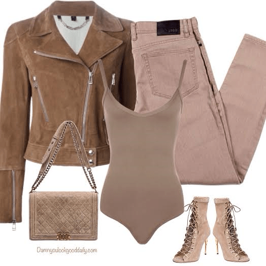 A open toe bootie outfit with a suede motorcyle jacket brown bodysuit chanel boy bag balmain lace up open toe booties