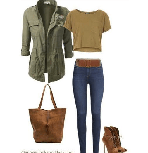 a outfit collage with a green jacket green crop top blue skinny jeans and brown Guiseppe zanotti open toe booties and a river island tote bag