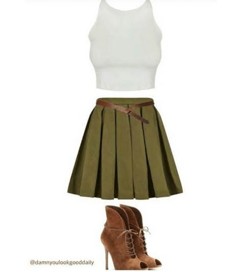 cute-outfit-ideas-green-skater-skirt