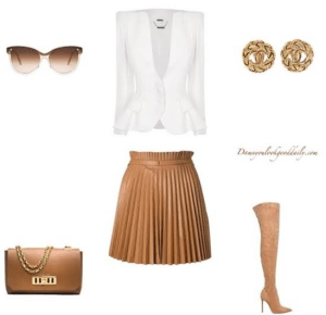 cute-outfit-ideas-leather-skirt-white-blazer