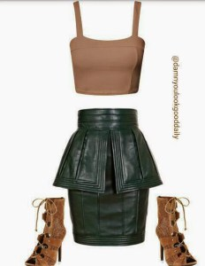 how-to-wear-a-leather-green-skirt