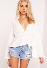 Flared Sleeve Tie Waist Blouse White $35
