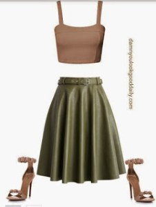 what to wear with a leather skater midi skirt