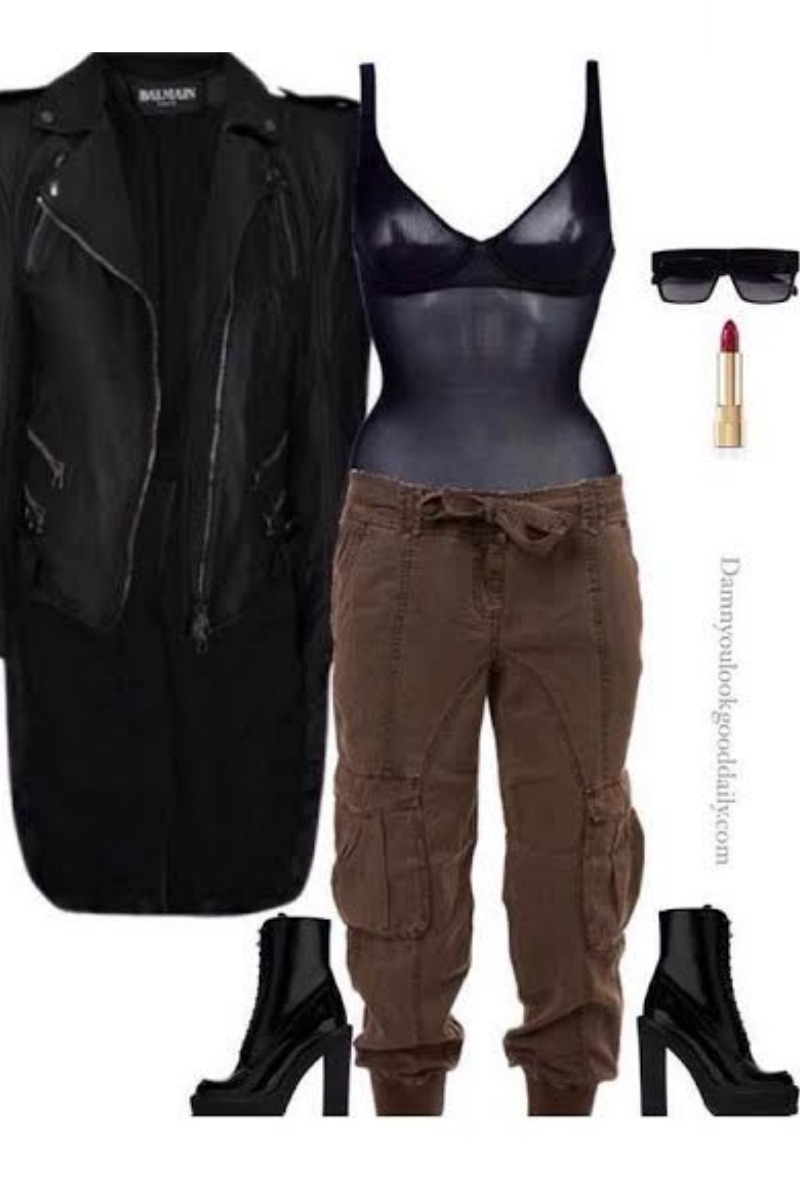 fall-winter-outfit-ideas-balmain-jacket-see-through-bodysuit-ankle-boots-cargo-pants-celine-sunglasses