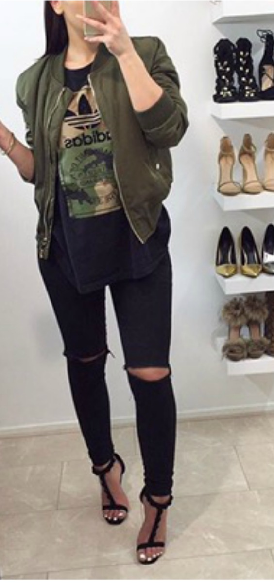 green-bomber-jacket-with-ripped-jeans-and-heels