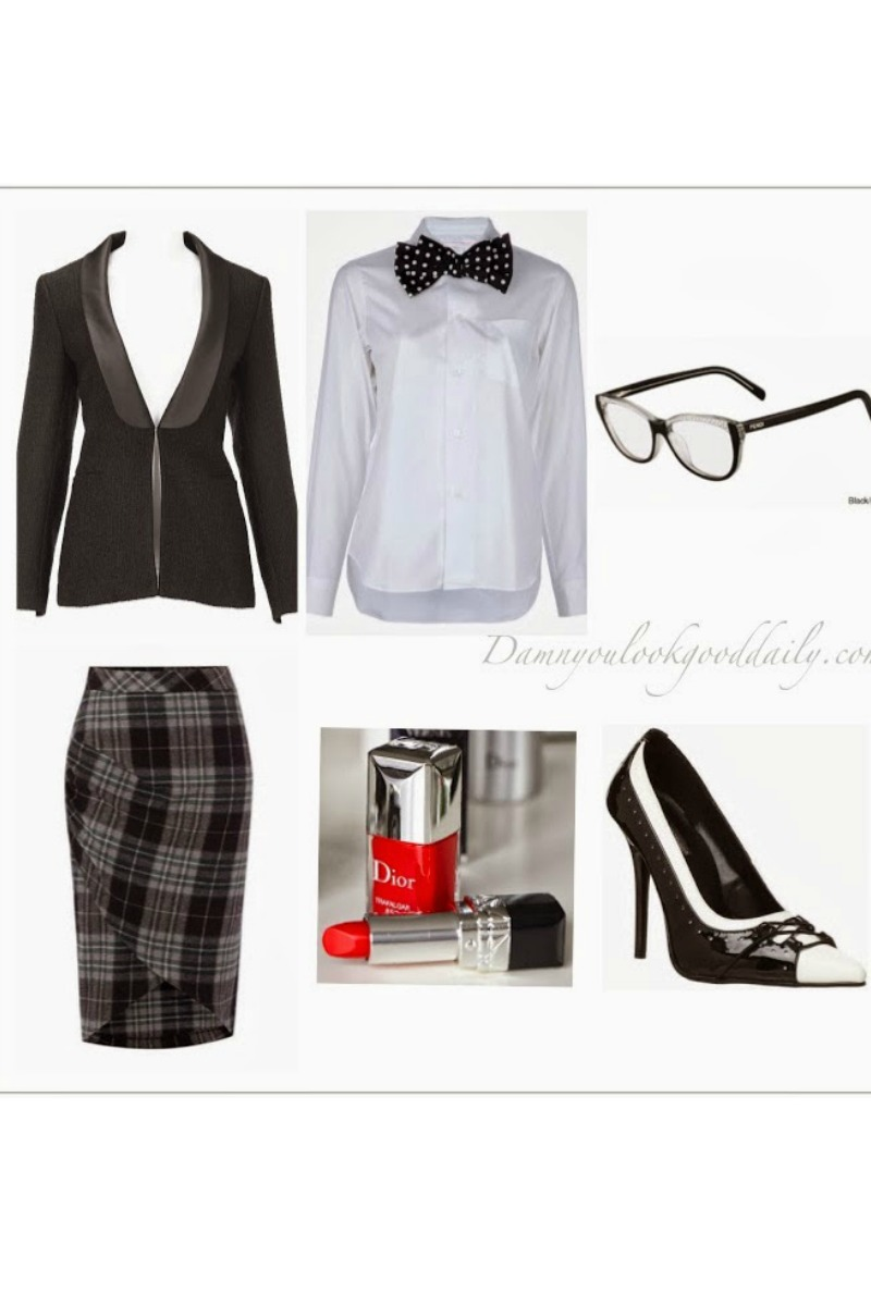 business-work-outfit-plaid-pencil-skirt-black-blazer-white-button-down-bow-tie