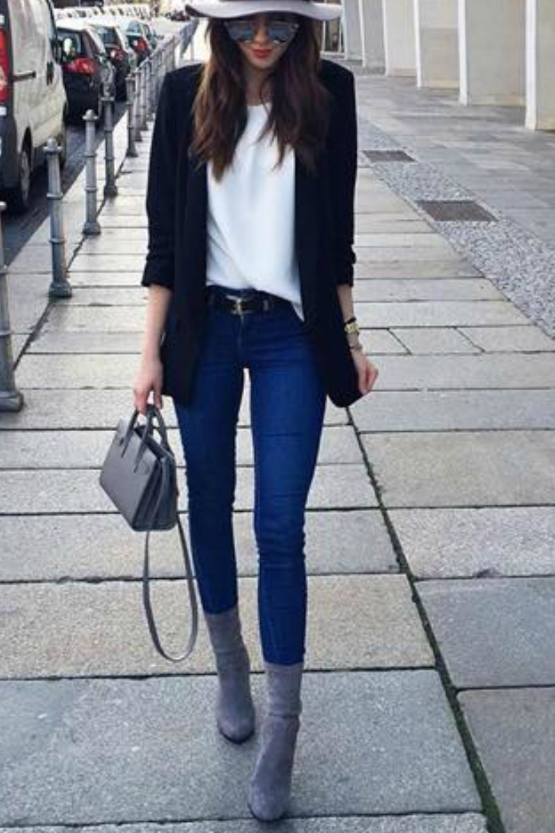Skinny jean winter outfits