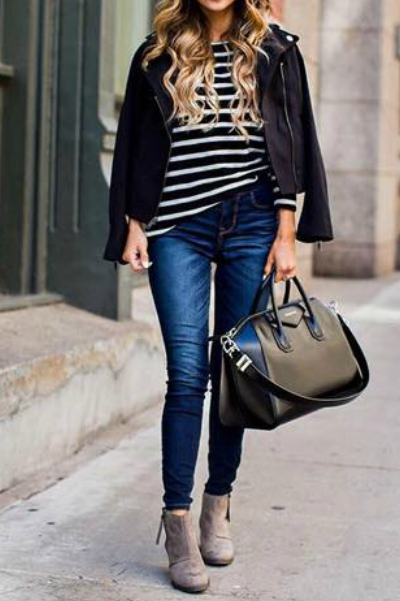 fall-winter-outfit-ideas-casual-taupe-ankle-boots-striped-shirt