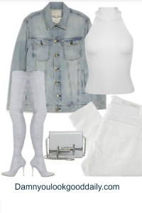 Kylie Jenner style outfit idea for fall and spring white jeans denim jacket thigh high boots