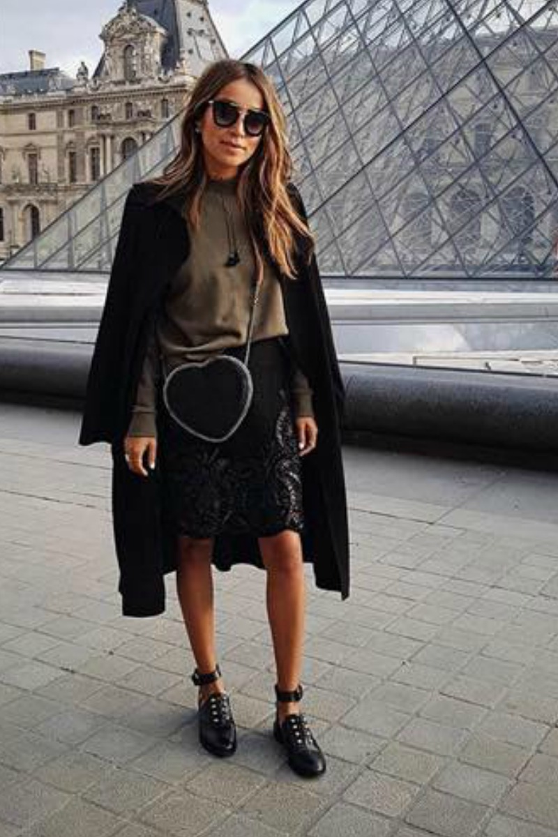 sincerely jules in paries wearing a street style outfit for fall and winter a lace black skirt and black jacket with black flats