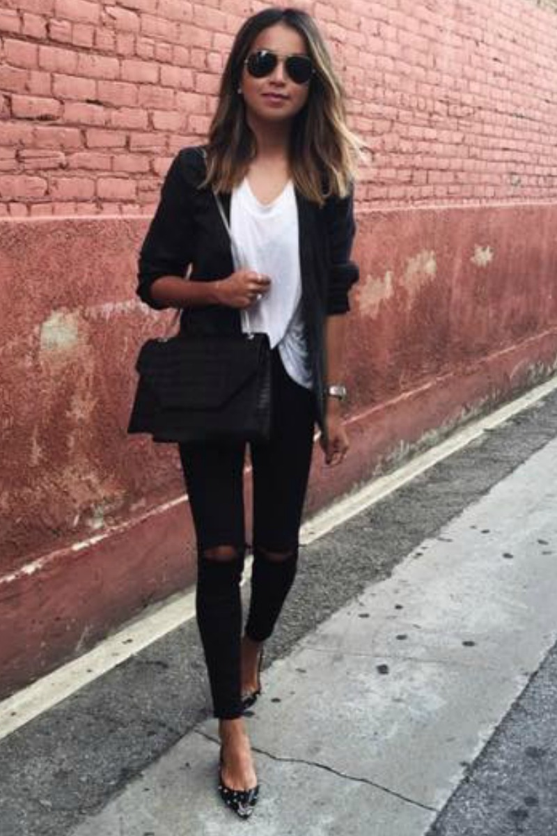 sincerely jules in a casual fall outfit with a white t shirt black blazer and black skinny jeans with flat